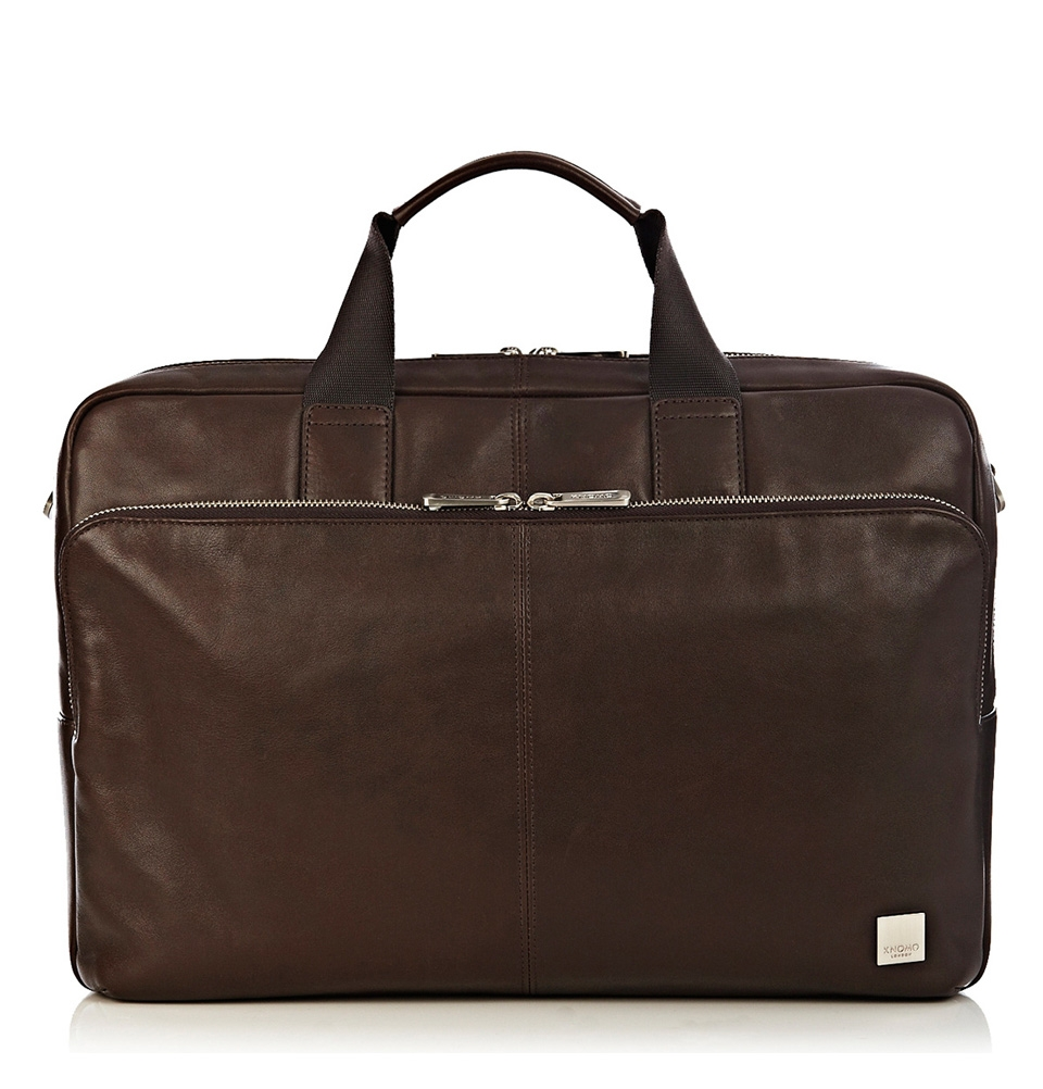 "Knomo Amesbury 15.6"" Double Zip Leather Briefcase Brown"