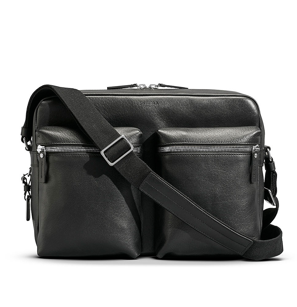 Shinola Zip Top Messenger Black