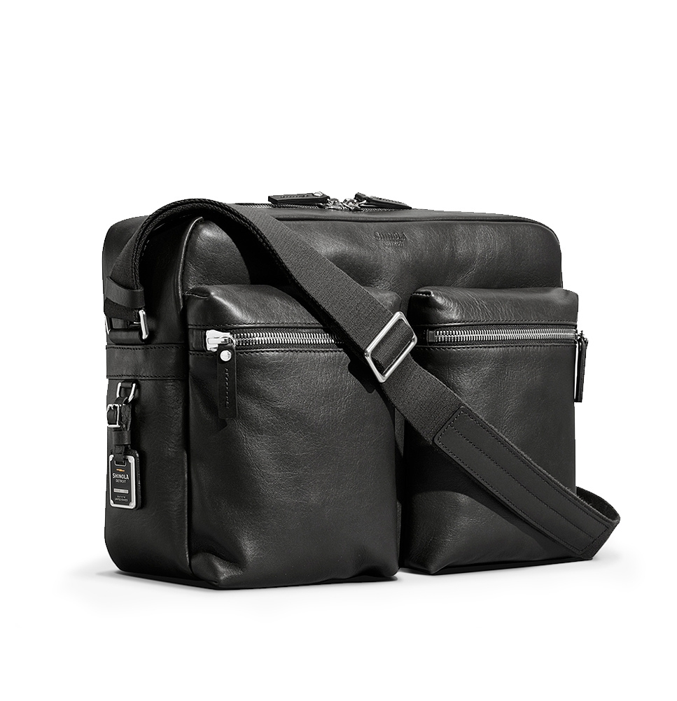 Shinola Zip Top Messenger Black, modern and sophisticated leather ...
