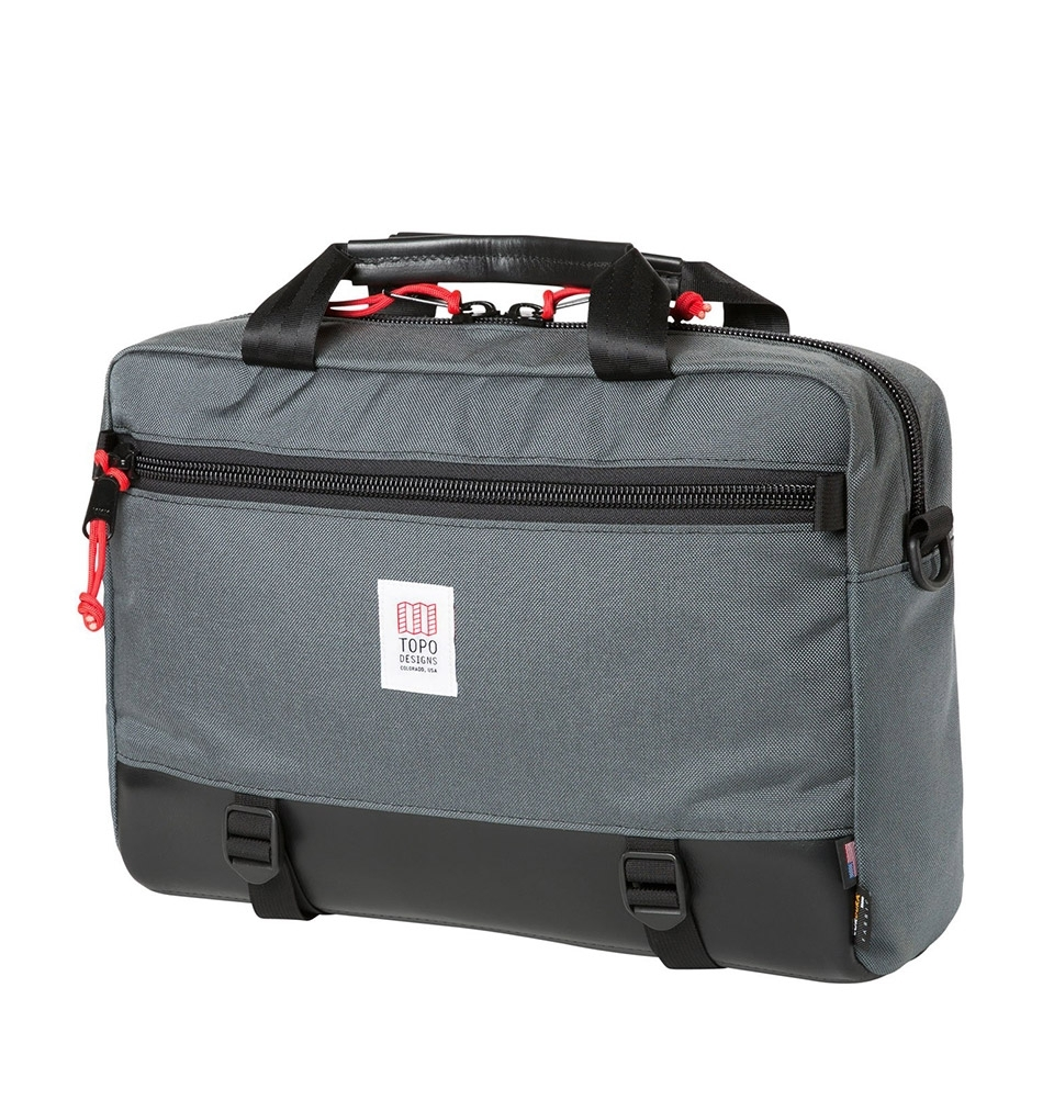 Topo Designs Commuter Briefcase Charcoal/Black Leather