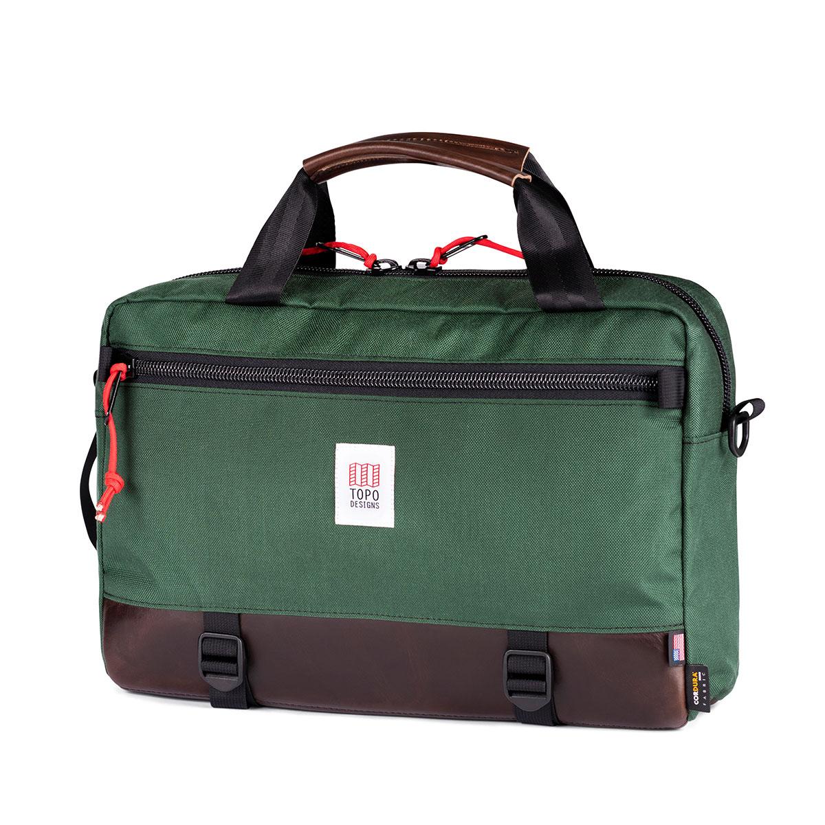 Topo Designs Commuter Briefcase Forest/Dark Brown Leather