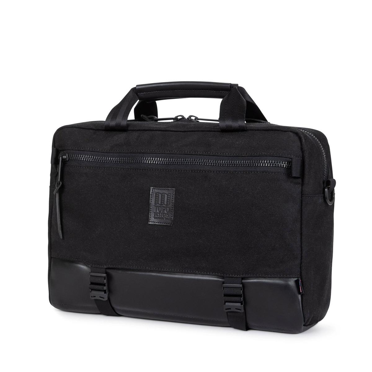 Topo Designs Commuter Briefcase Heritige Black Canvas/Black Leather