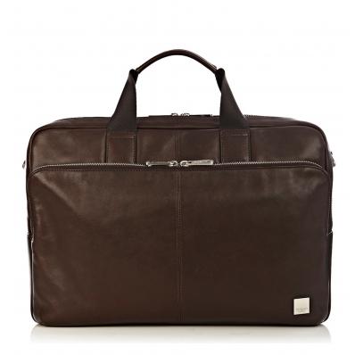 """Knomo Amesbury 15.6"""" Double Zip Briefcase Brown"""