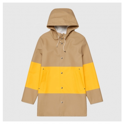 Stutterheim Stockholm Raincoat Large Stripe Sand front