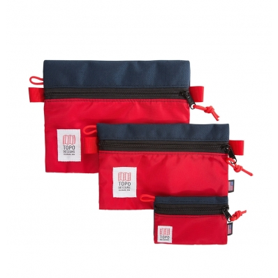 Topo Designs Accessory Bags Navy/Red Set of 3