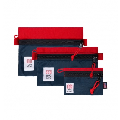 Topo Designs Accessory Bags Red/Navy Set of 3