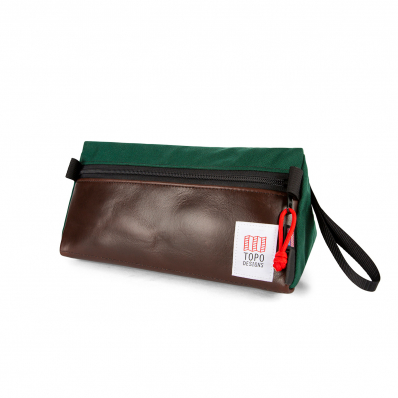 Topo Designs Dopp Kit Heritage Forest/Brown Leather