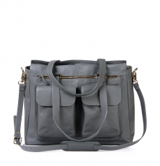 Leren Dames Laptoptas Olivia cool gray