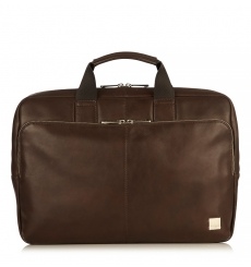 "Knomo Newbury 15"" Top Zip Briefcase Brown"