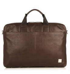 "Knomo Durham 15"" Slim Leather Brief Brown"