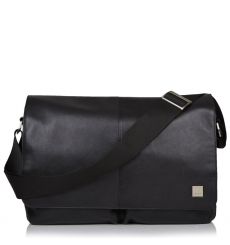 "Knomo Kobe Soft Leather Messenger Bag 15"" Black"