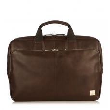 "Knomo Newbury 15"" Single Zip Leather Briefcase Brown"