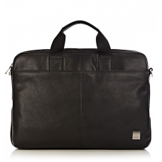 "Knomo Durham 15.6"" Slim Leather Brief Black"