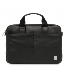 "Knomo Stanford 13"" Small Leather Briefcase Black"