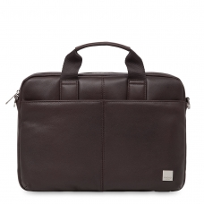 """Knomo Stanford 13"""" Small Leather Briefcase Brown"""
