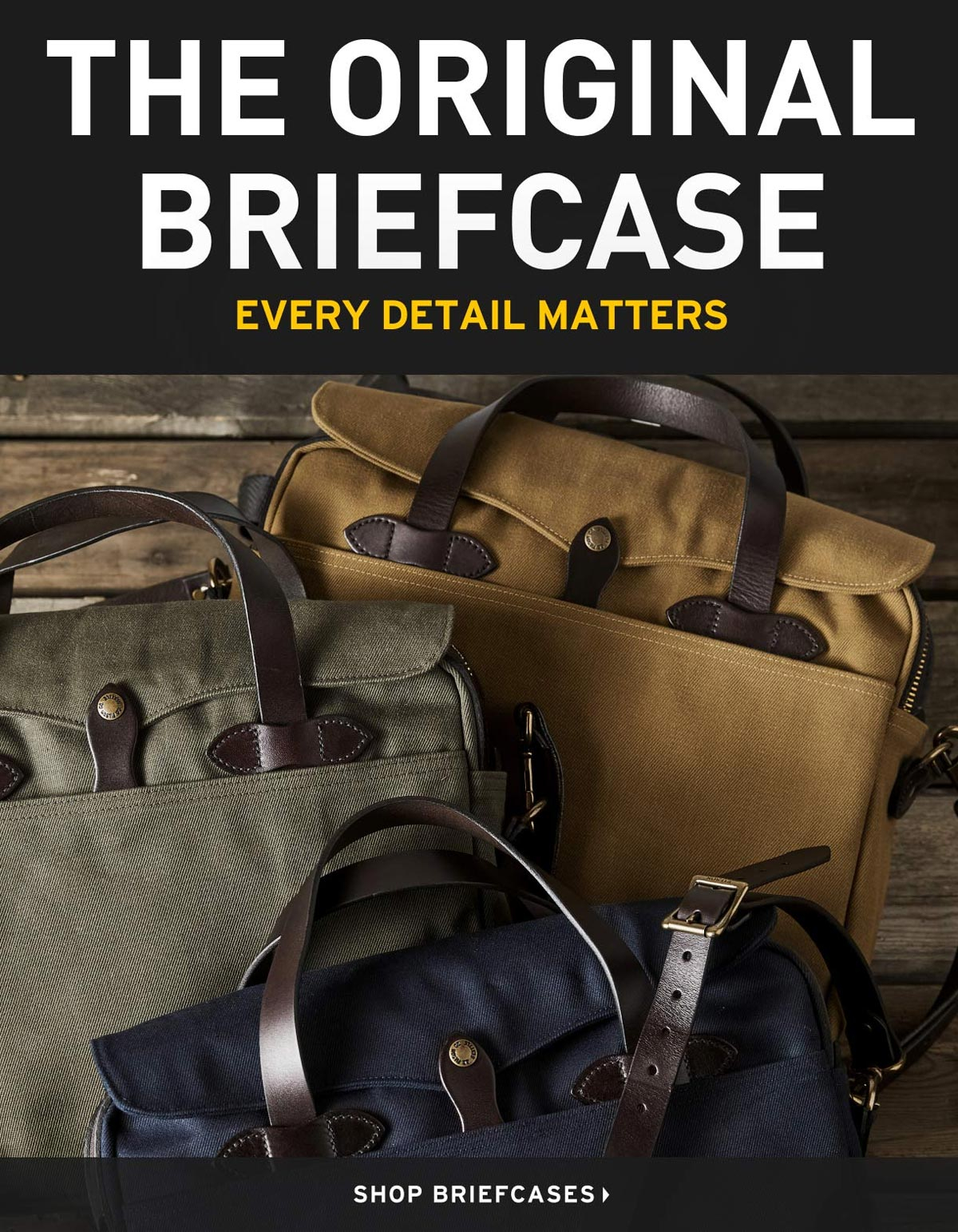 Filson Original Briefcase Navy, Tan and OtterGreen, every detail matters