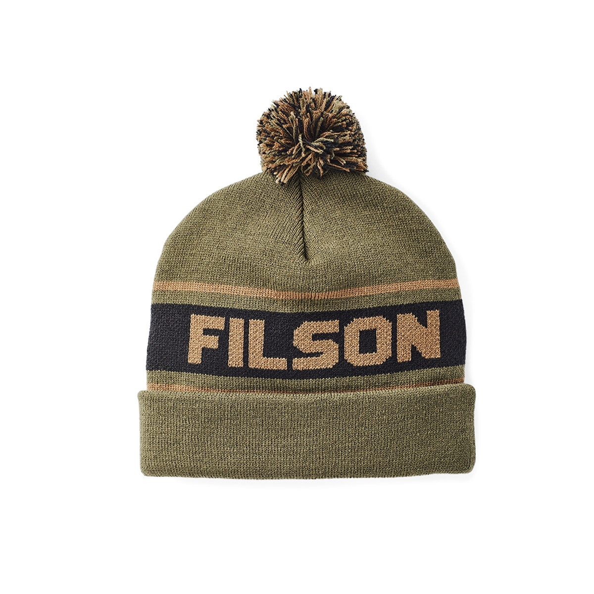 Filson Acrylic Logo Beanie Army Green, lightweight and quick-drying, ideal for rain and snow