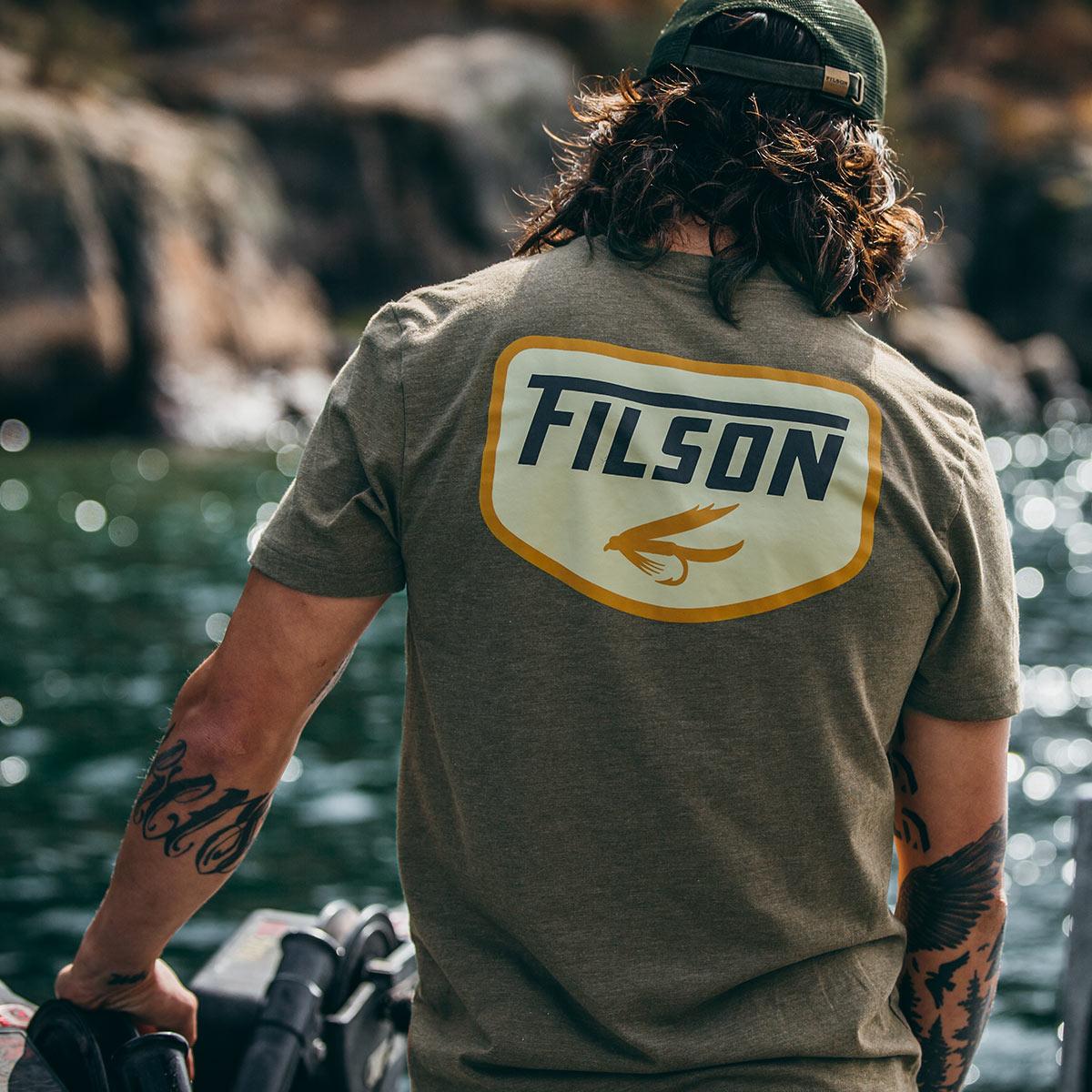 Filson Buckshot T-Shirt Olive Drab Heather, with custom graphics designed in-house at Filson