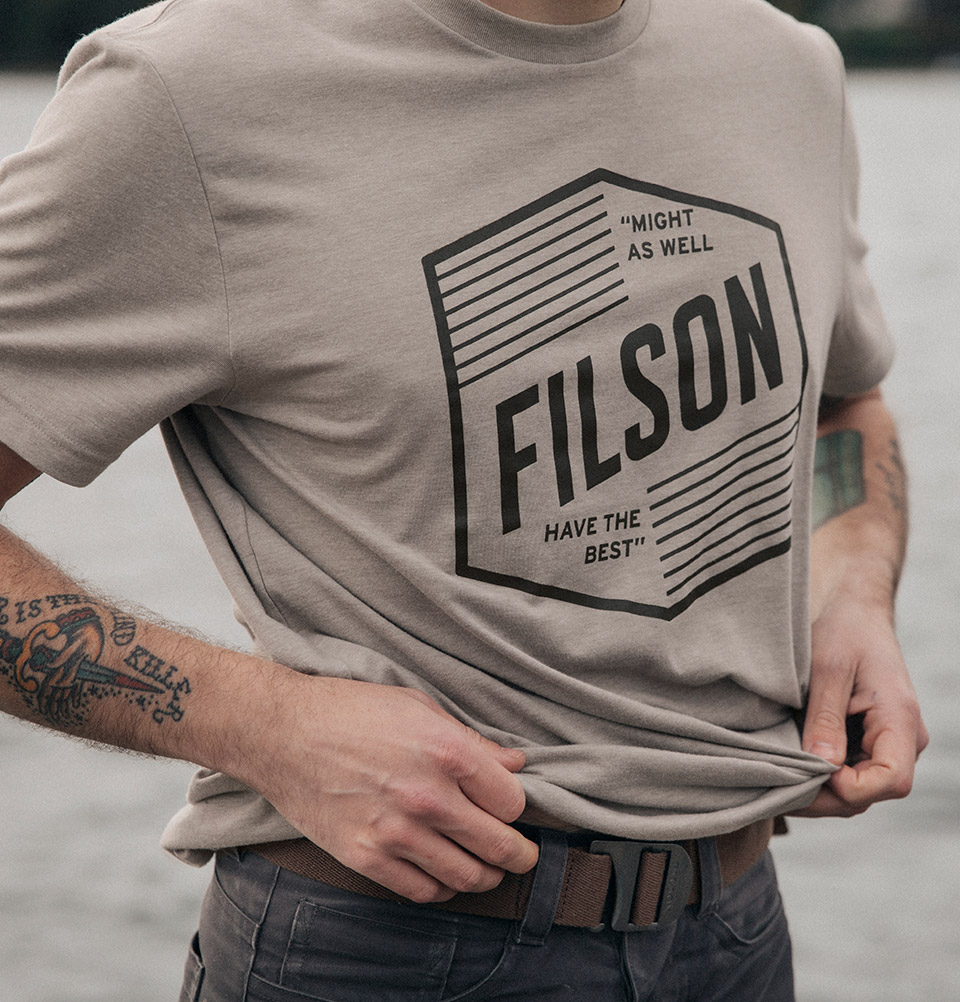 Filson Buckshot T-Shirt Sand Stone, high performance T-shirt with UPF 50+ sun protection