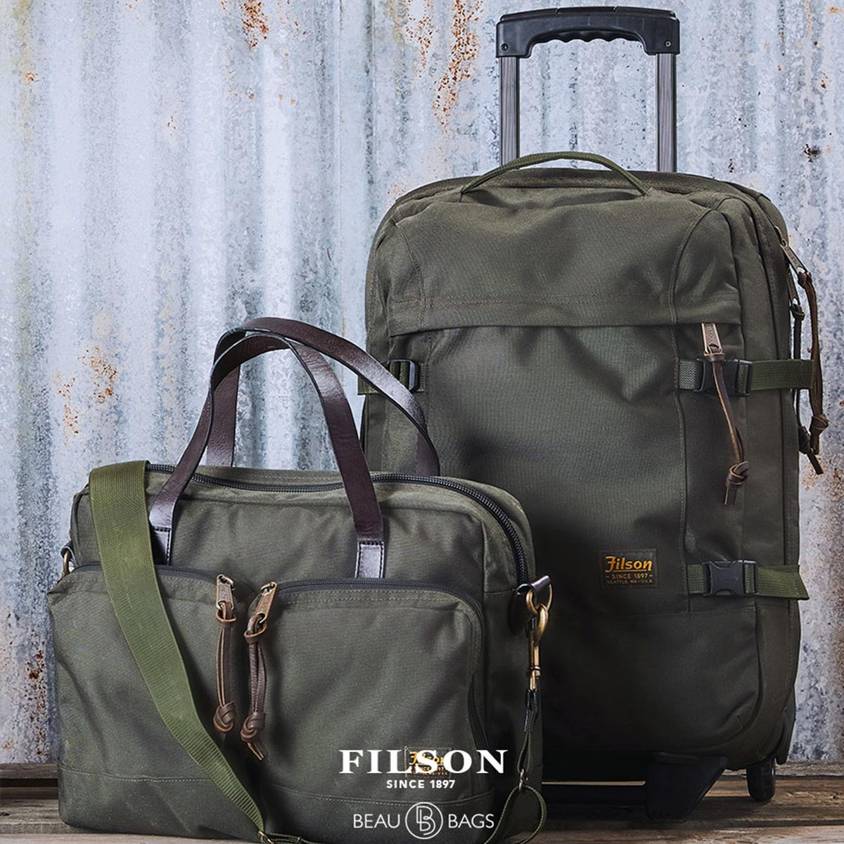 Filson Dryden Dryden 2-Wheel Rolling Carry-On Bag 20047728-Otter Green, built with abrasion-resistant ballistic nylon for years of reliable travel