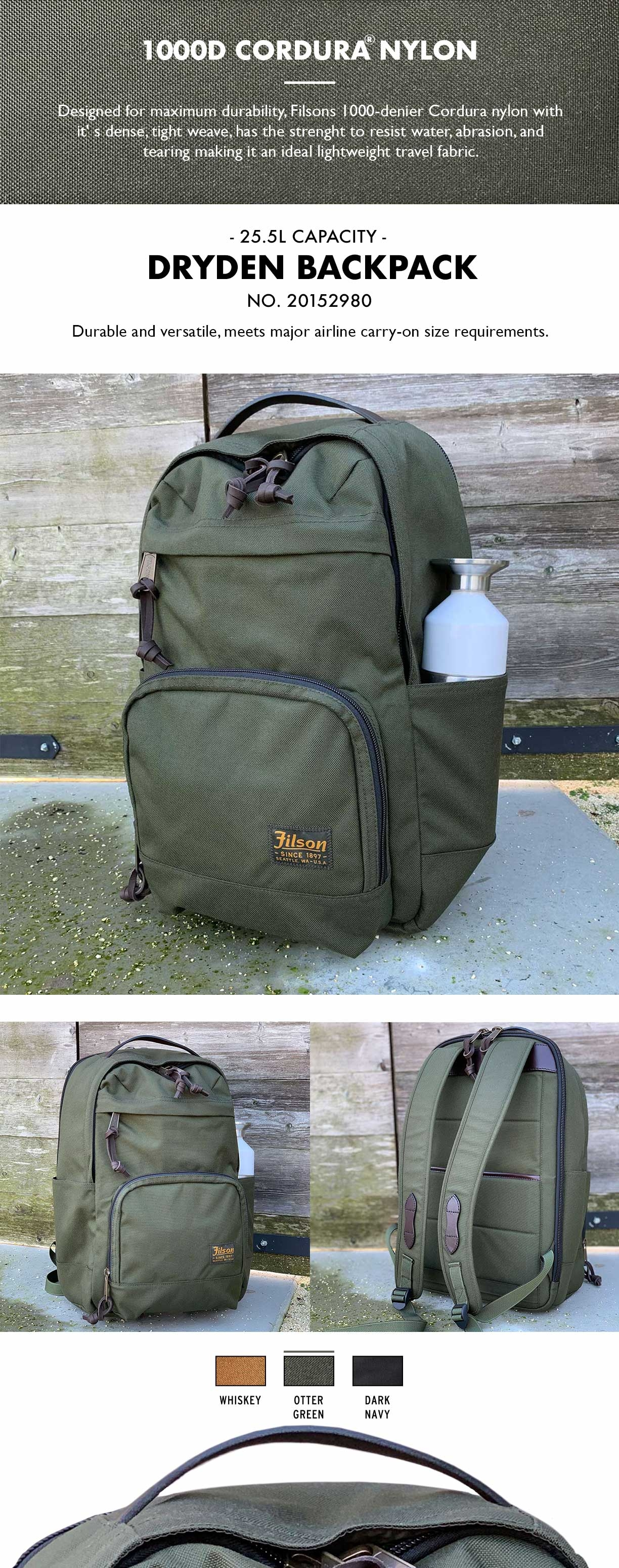 Filson Dryden Backpack Otter Green Product-information