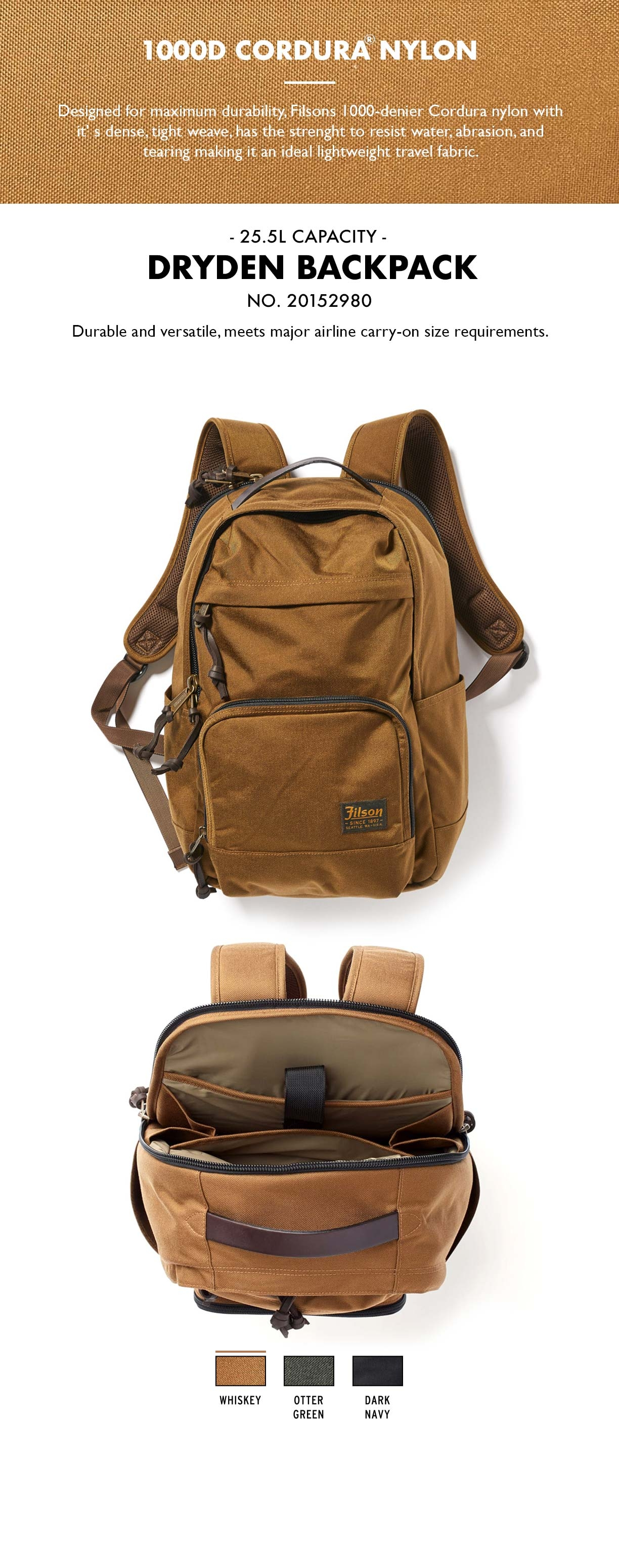 Filson Dryden Backpack Whiskey Product-information