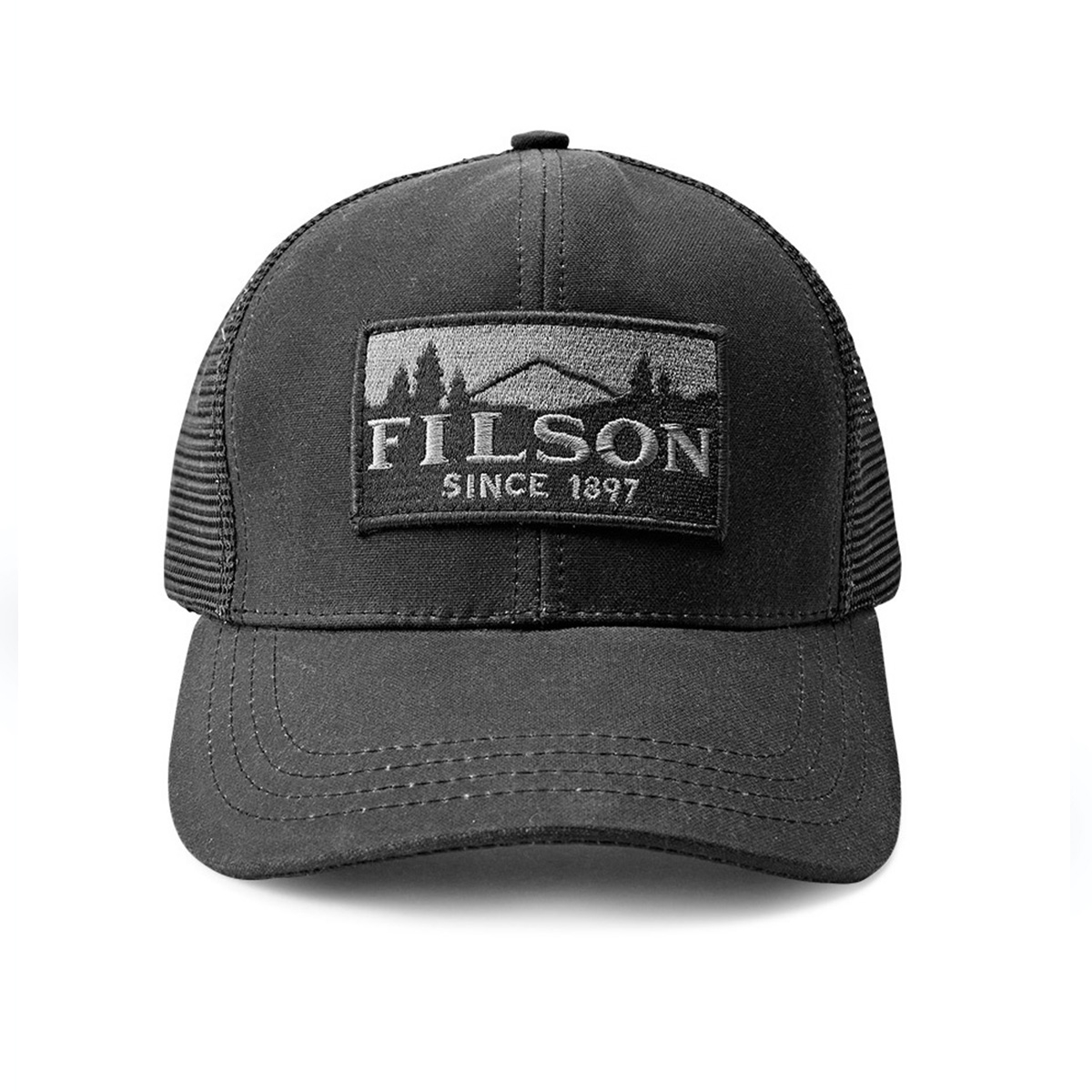 Filson Logger Mesh Cap 11030237-Black, durable cap made of iconic, water-repellent Tin Cloth
