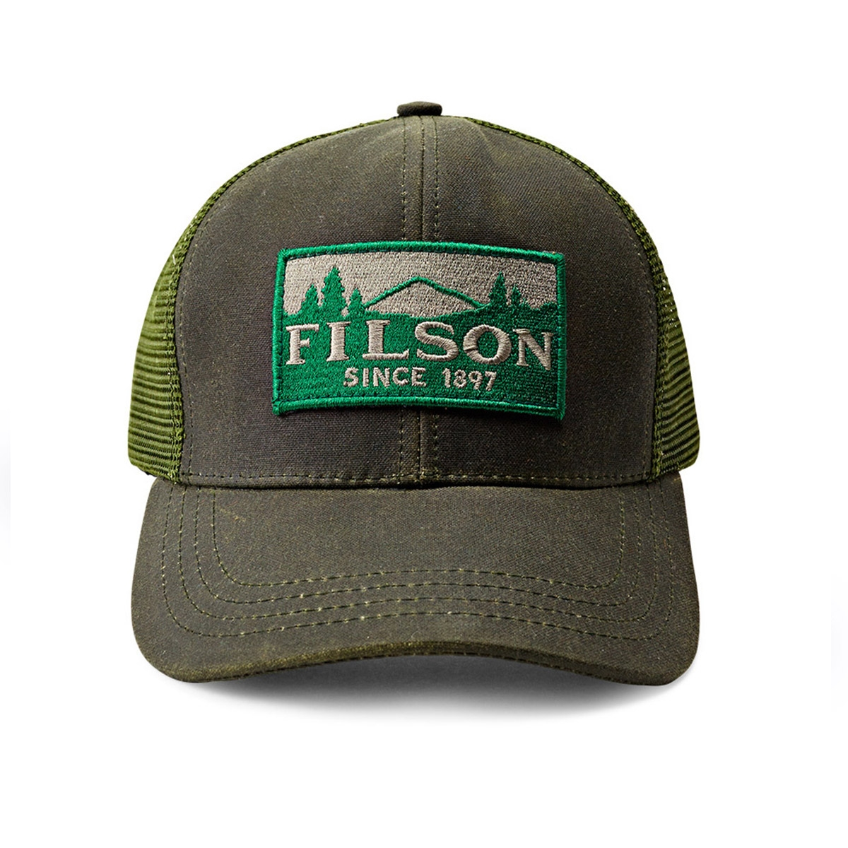 Filson Logger Mesh Cap 11030237-Otter Green, durable cap made of iconic, water-repellent Tin Cloth