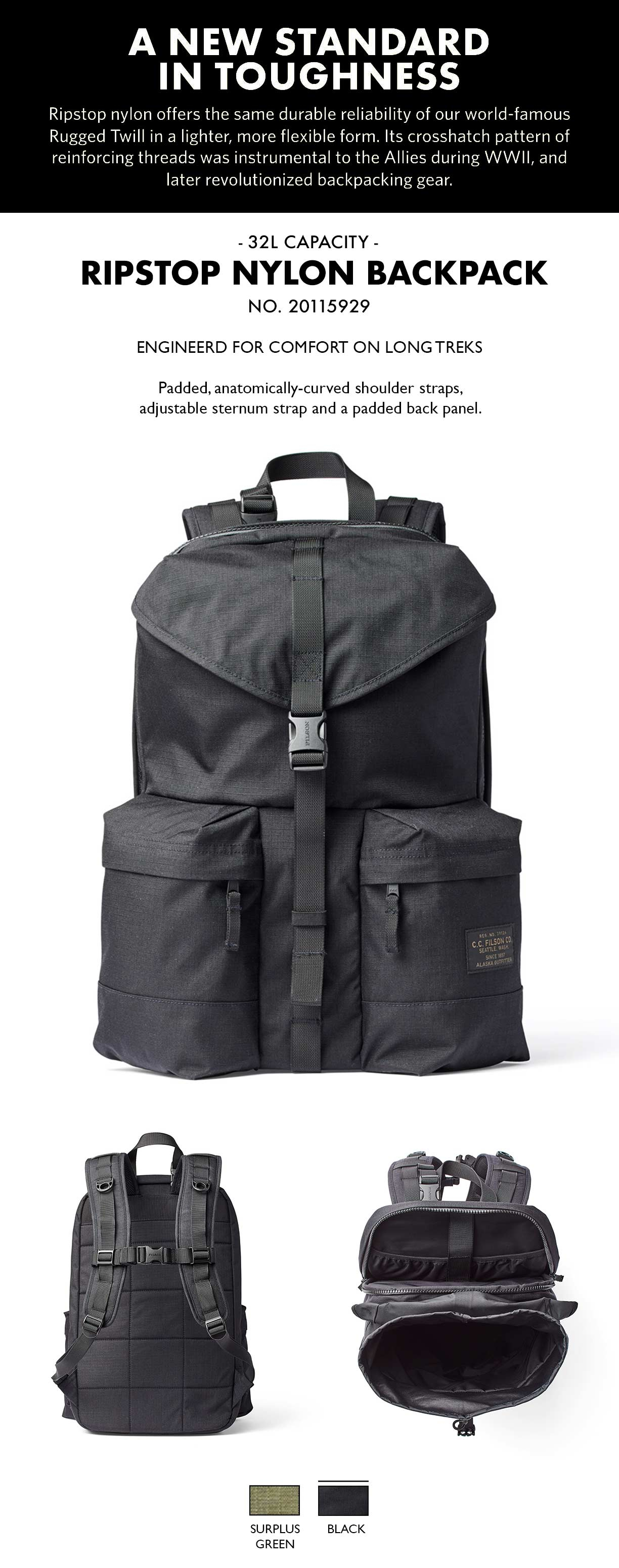 Filson Ripstop Backpack Surplus Green Product-information