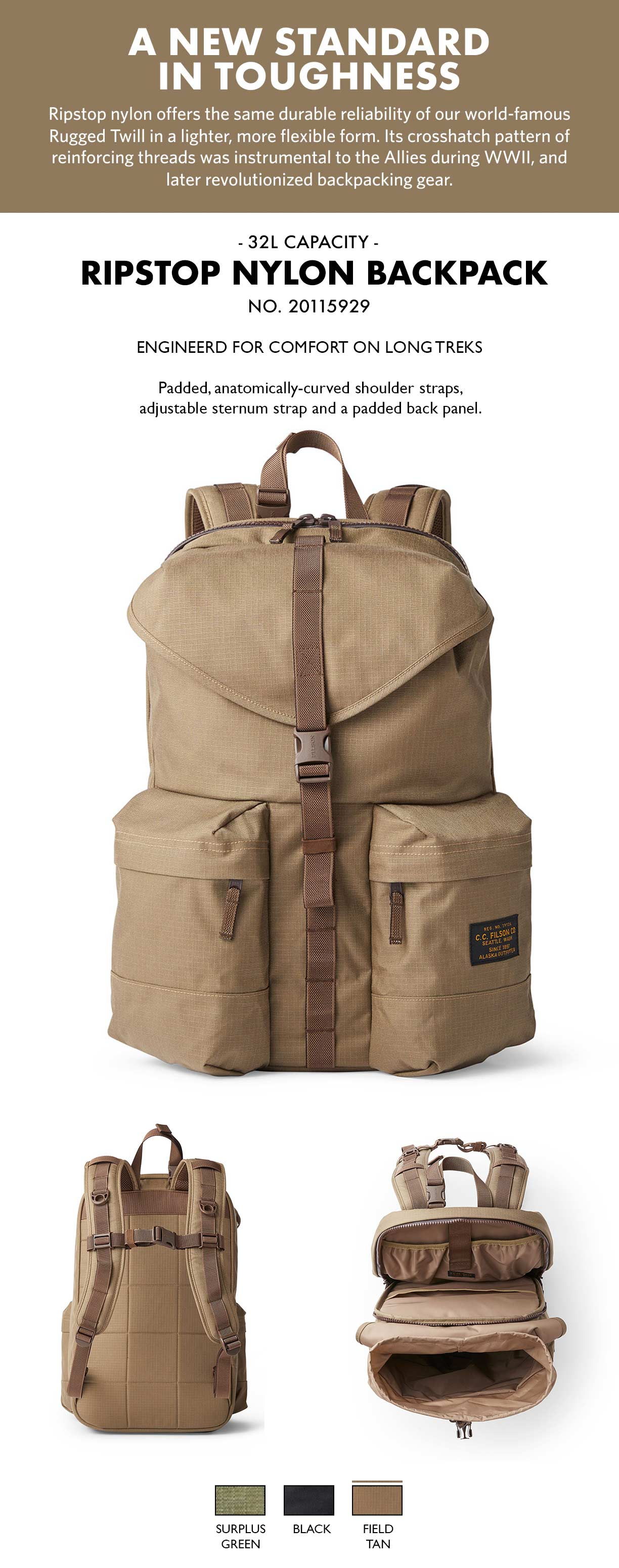 Filson Ripstop Backpack Field Tan Product-information