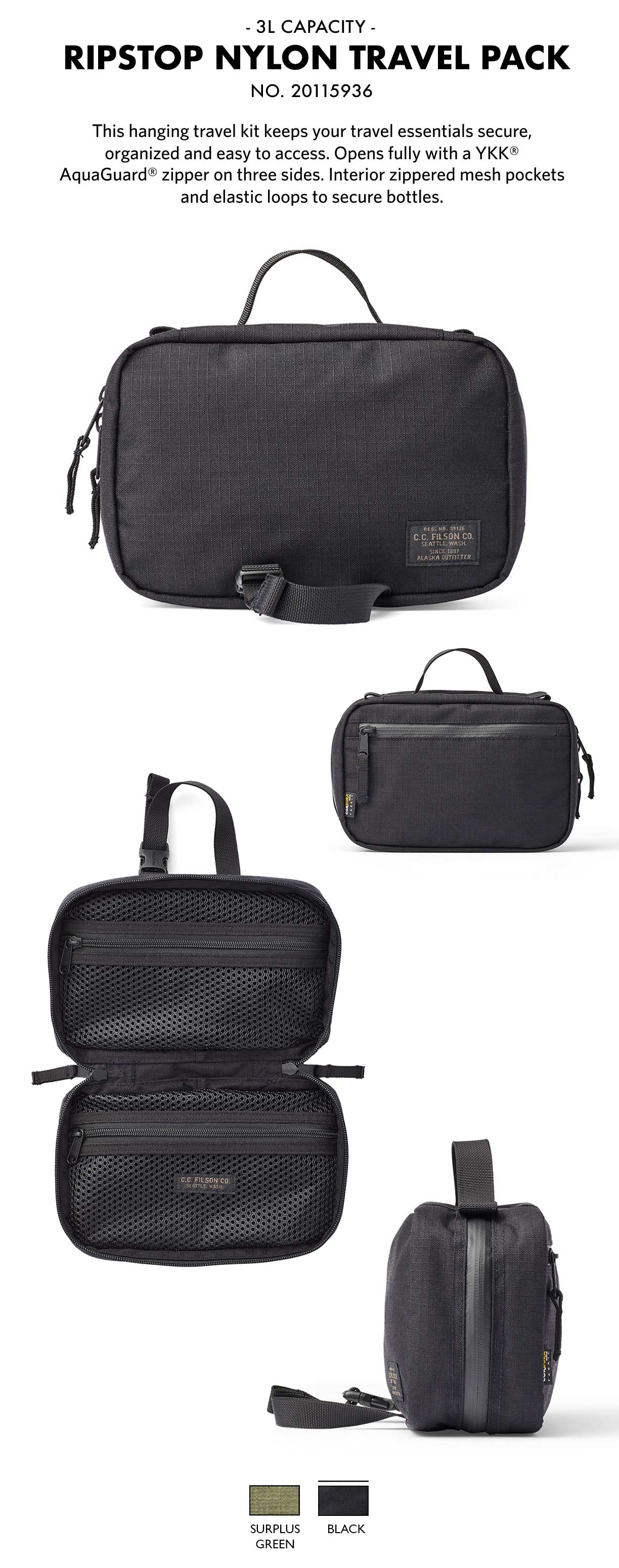 Filson Ripstop Nylon Travel Pack Black Product-information