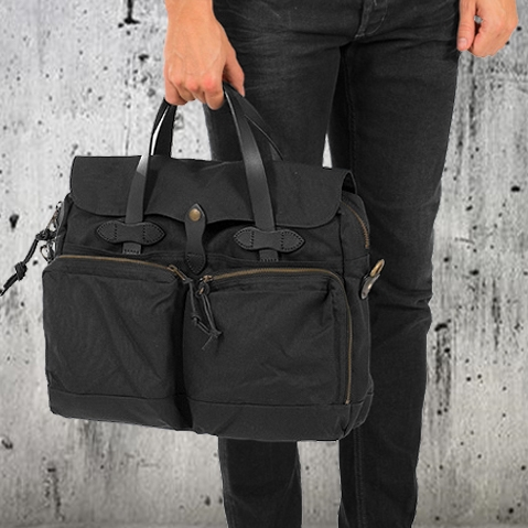 Filson 24-Hour Tin Briefcase Black, perfect bag for a weekend away or a small business-trip