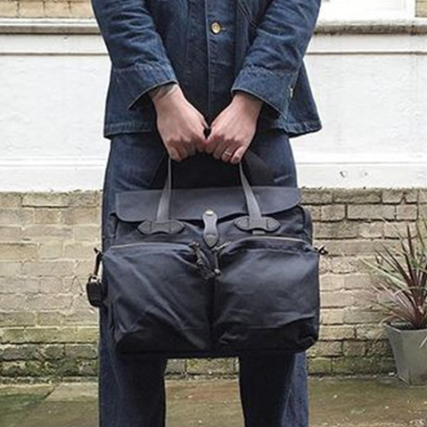 Filson 24-Hour Tin Briefcase Navy, Designed for a long weekend, guaranteed for life