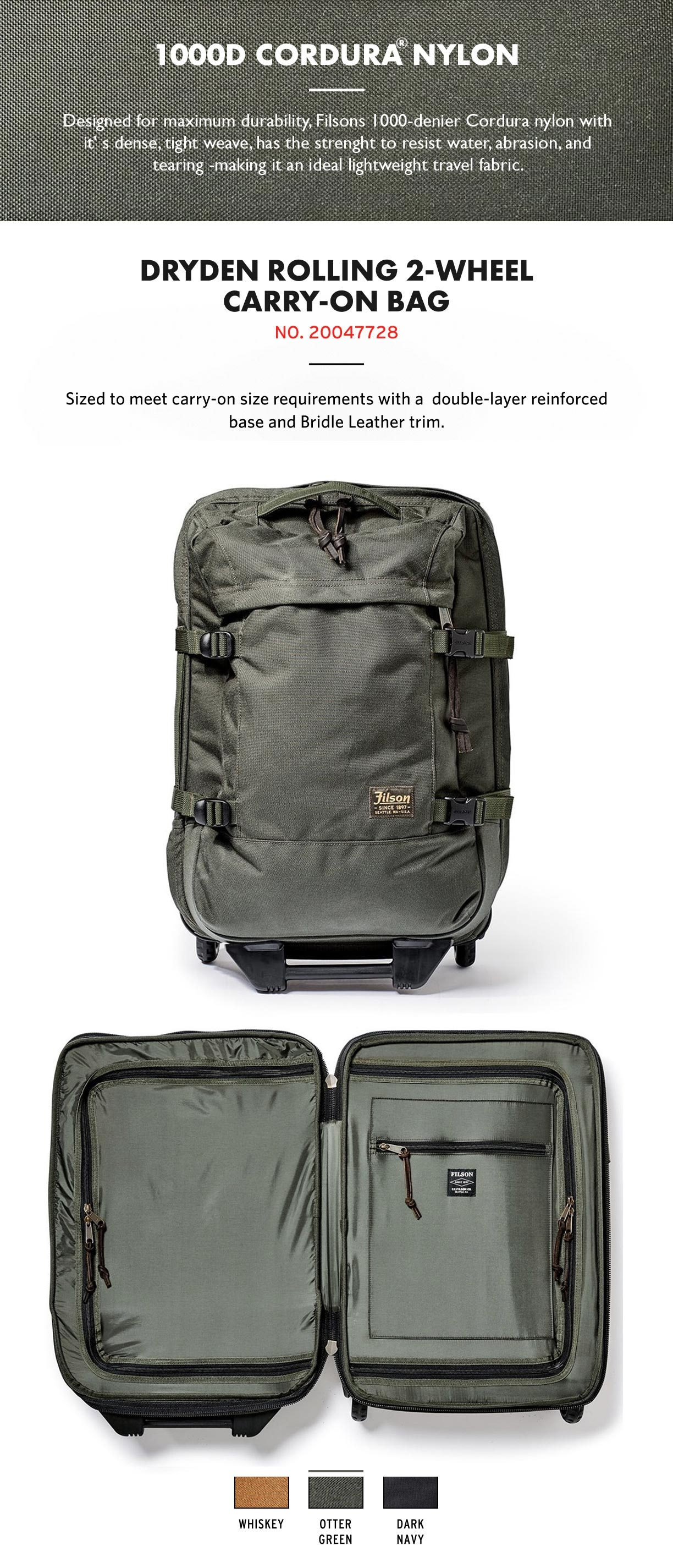 Filson Dryden 2-Wheel Rolling Carry-On Bag Dark Navy Product-information