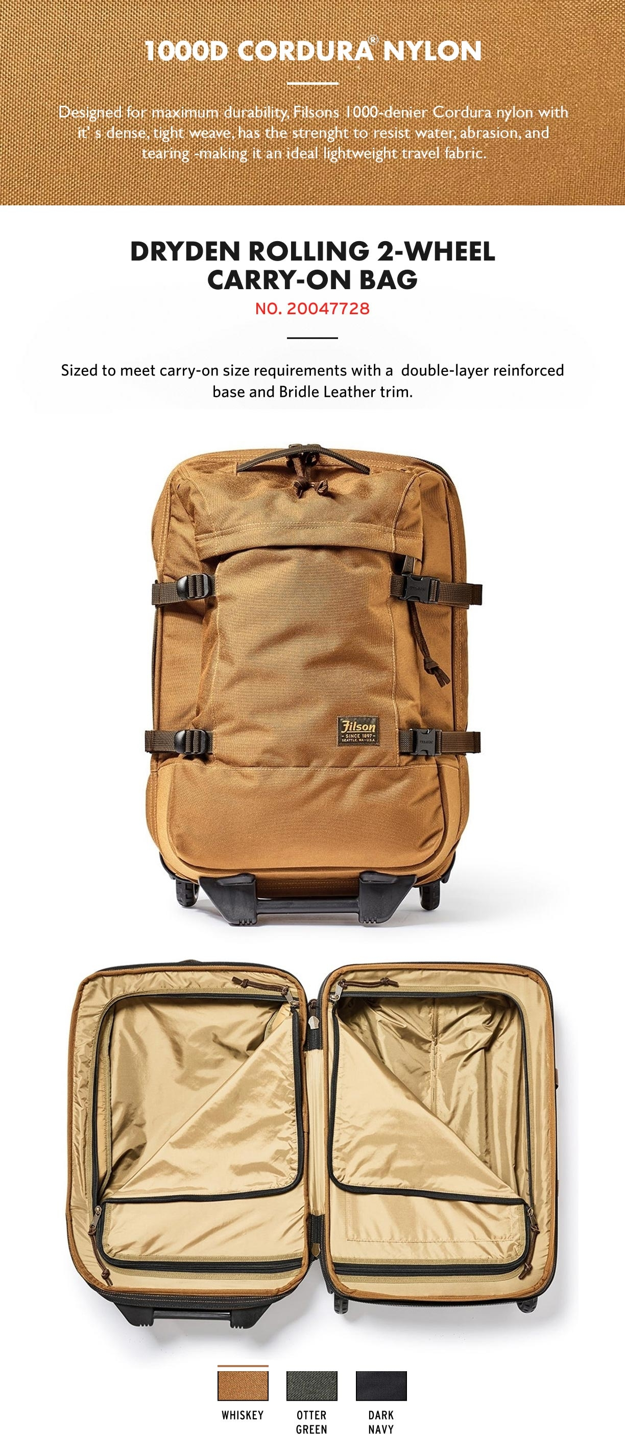 Filson Dryden 2-Wheel Rolling Carry-On Bag Dark Navy Product-information