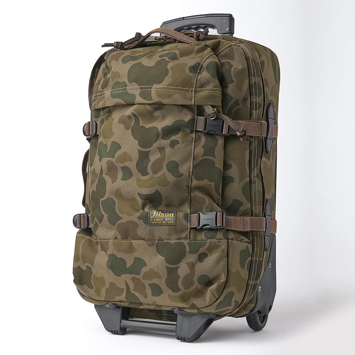 Filson Dryden Dryden 2-Wheel Rolling Carry-On Bag 20047728-Dark Shrub Camo, built with abrasion-resistant ballistic nylon for years of reliable travel