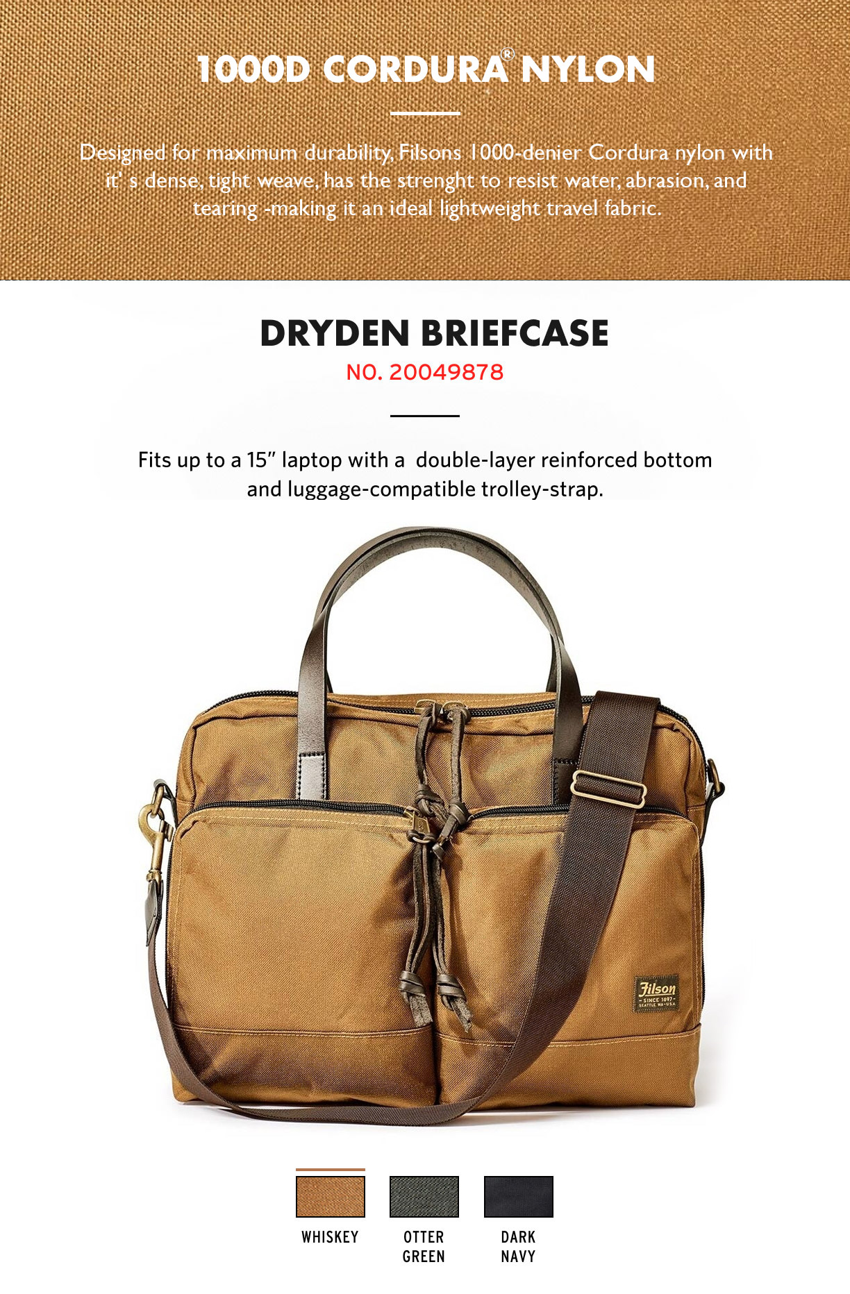 Filson Dryden Briefcase Whiskey Product-information