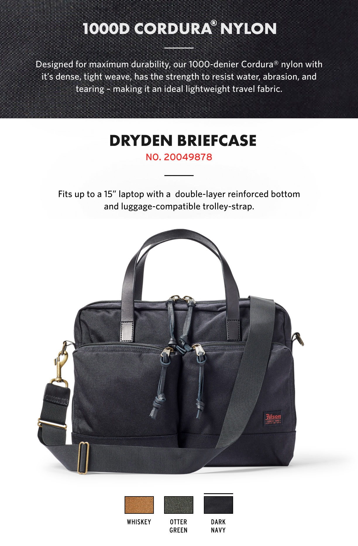 Filson Dryden Briefcase Dark Navy Product-information