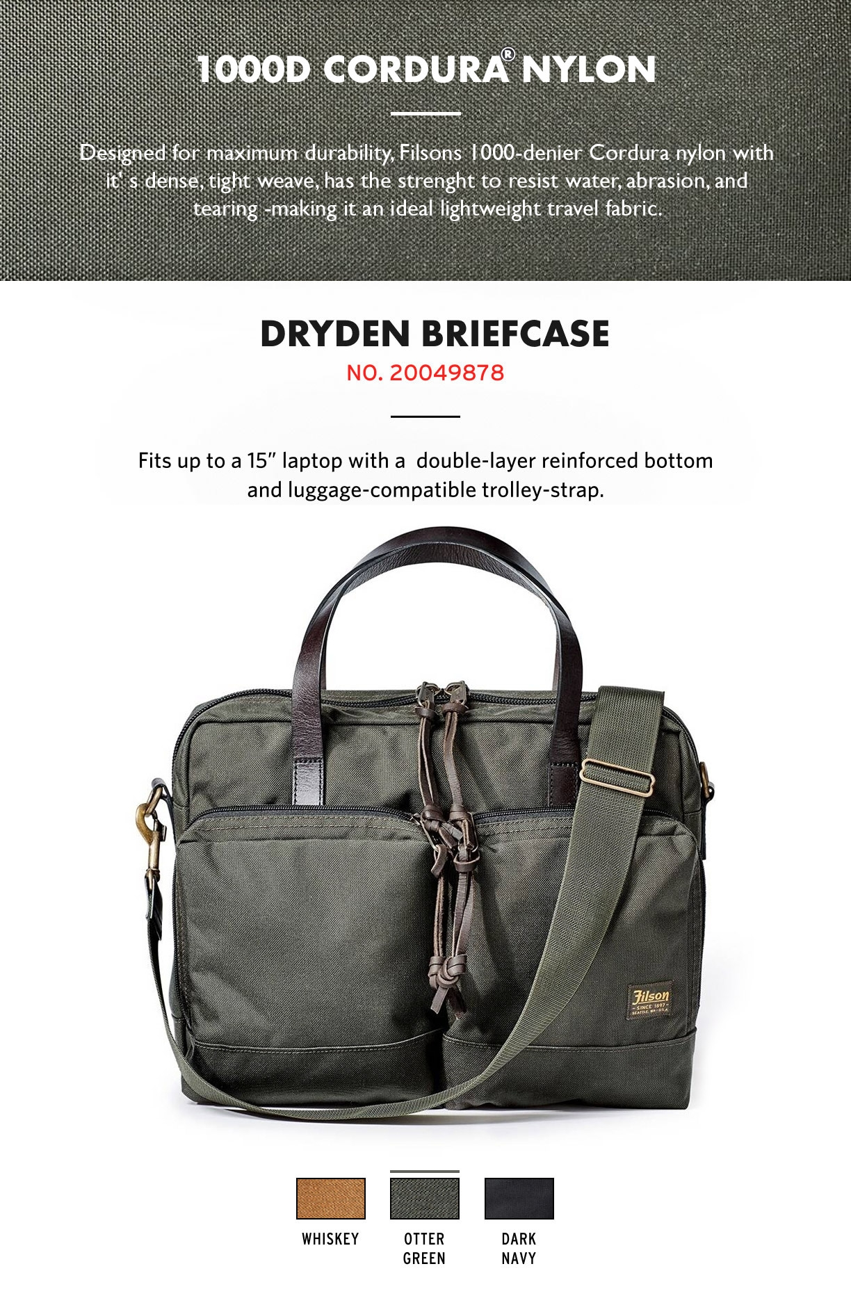 Filson Dryden Briefcase Otter Green Product-information