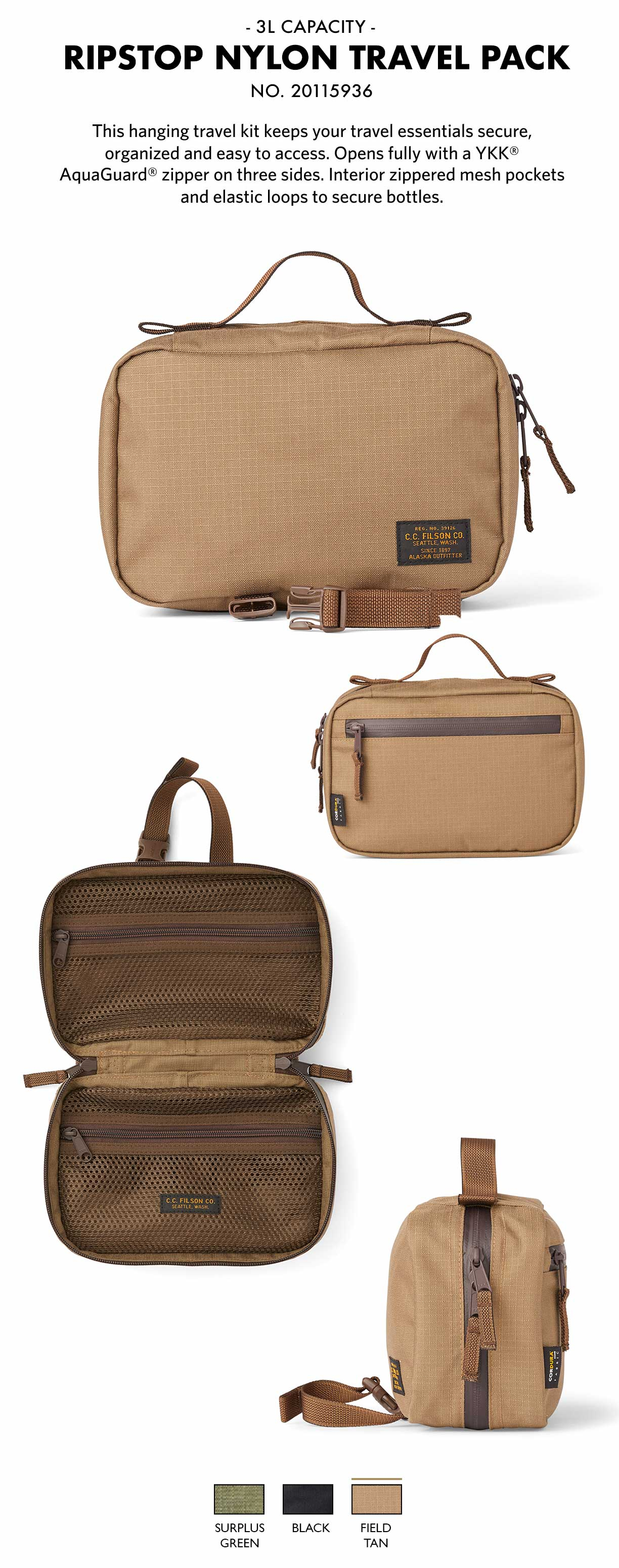 Filson Ripstop Nylon Travel Pack Field Tan Product-information