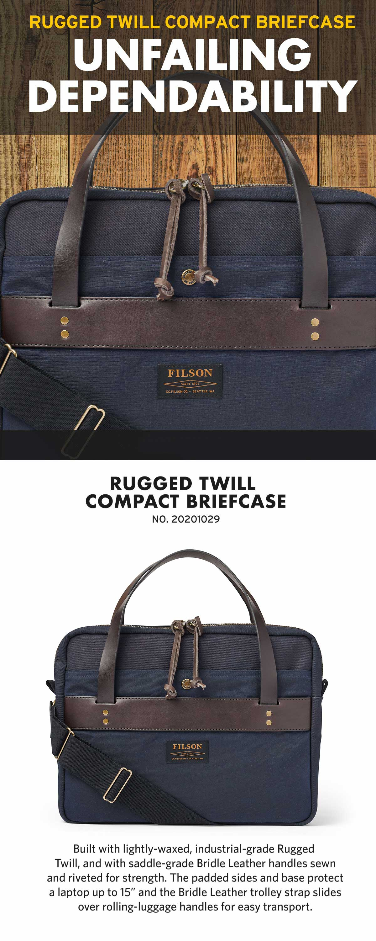 Filson Compact Briefcase Navy, Great, slim briefcase. Very well made and nicely detailed