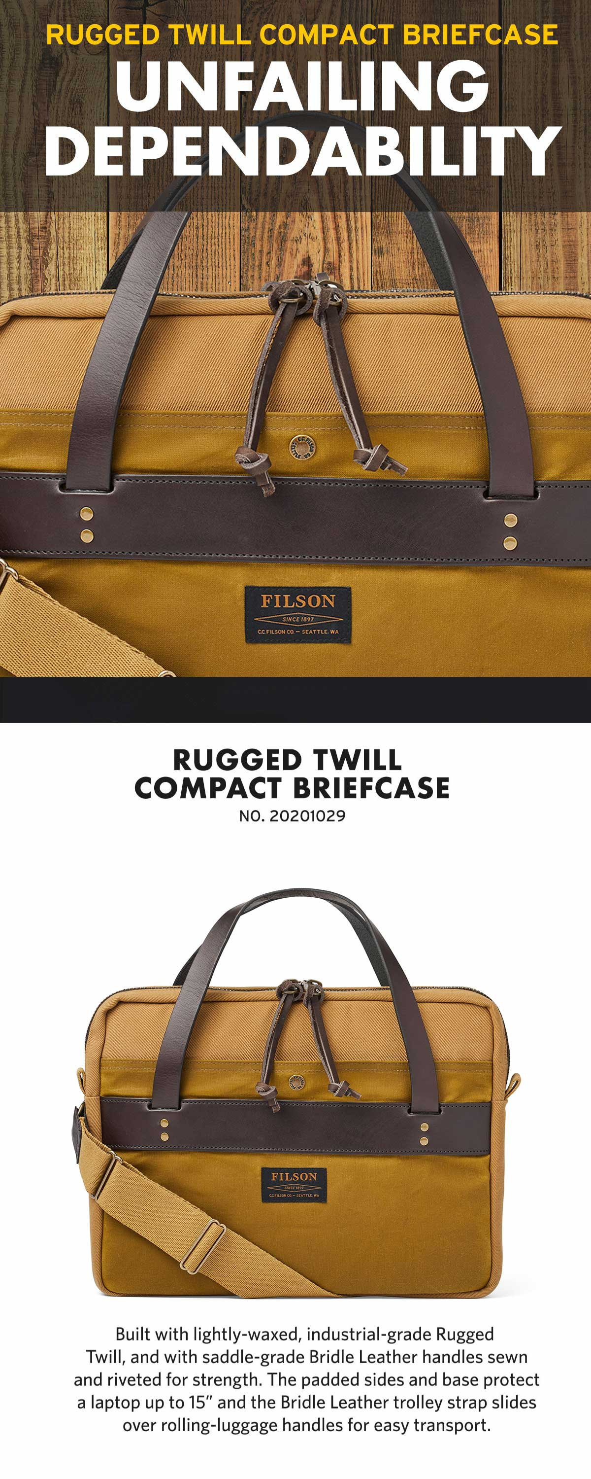 Filson Compact Briefcase Tan, Great, slim briefcase. Very well made and nicely detailed