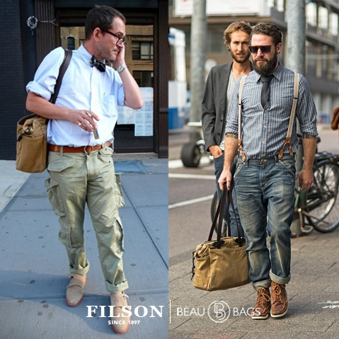 Filson Tote Bag with Zipper Tan, gemaakt voor mannen en vrouwen die van gemak, stijl en kwaliteit houden