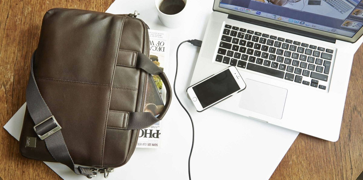 Knomo Stanford, a slim briefcase to fit your laptop and the everyday essentials.