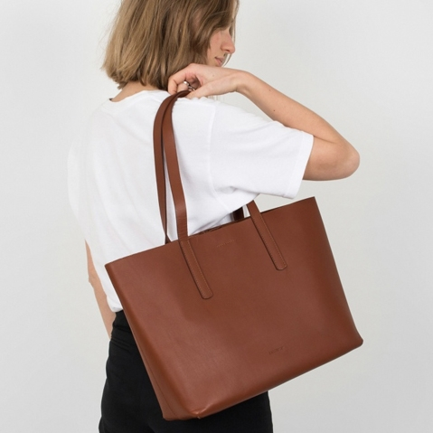 Sandqvist Emma Tote Bag Cognac Brown, Tote bag in vegetable tanned leather