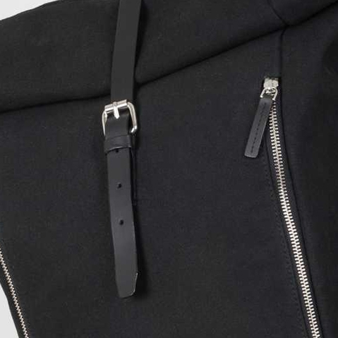Sandqvist Marius Backpack Black, Roll top backpack in 100% organic cotton canvas and leather