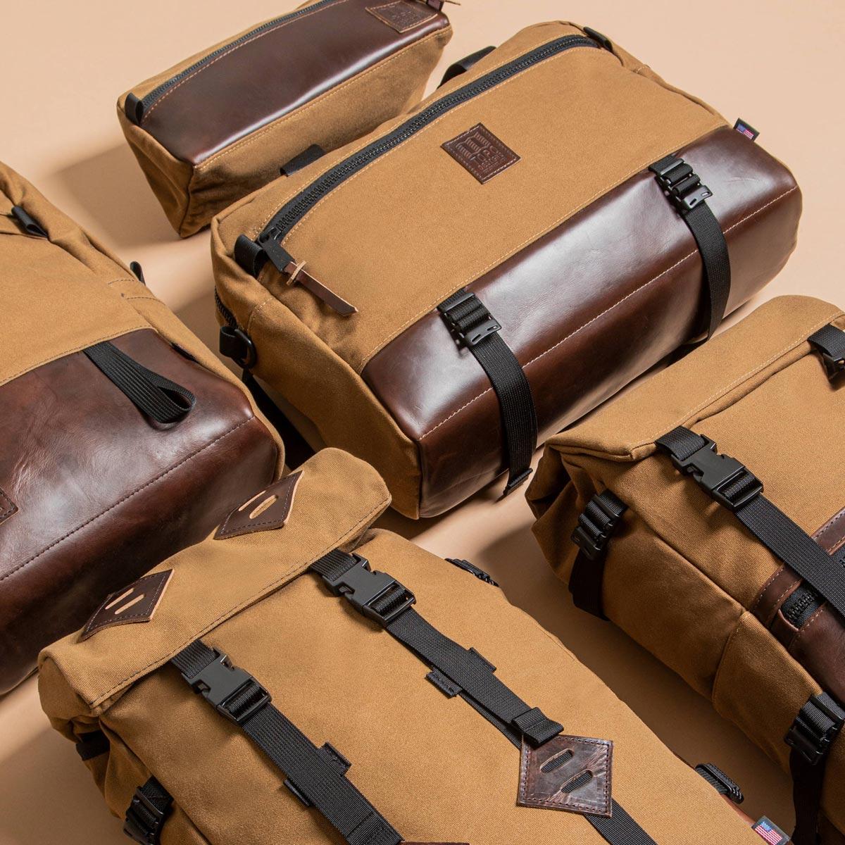 Topo Designs Commuter Briefcase Heritage Dark Khaki Canvas/Dark Brown Leather, briefcase, shoulder bag and backpack