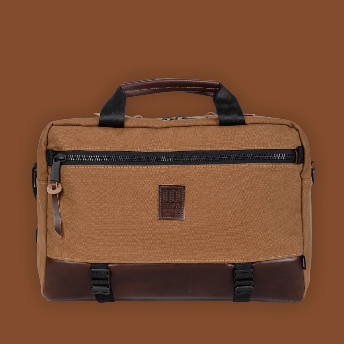 Topo Designs Commuter Briefcase Heritage Dark Khaki Canvas/Dark Brown Leather, perfect for everyday carry