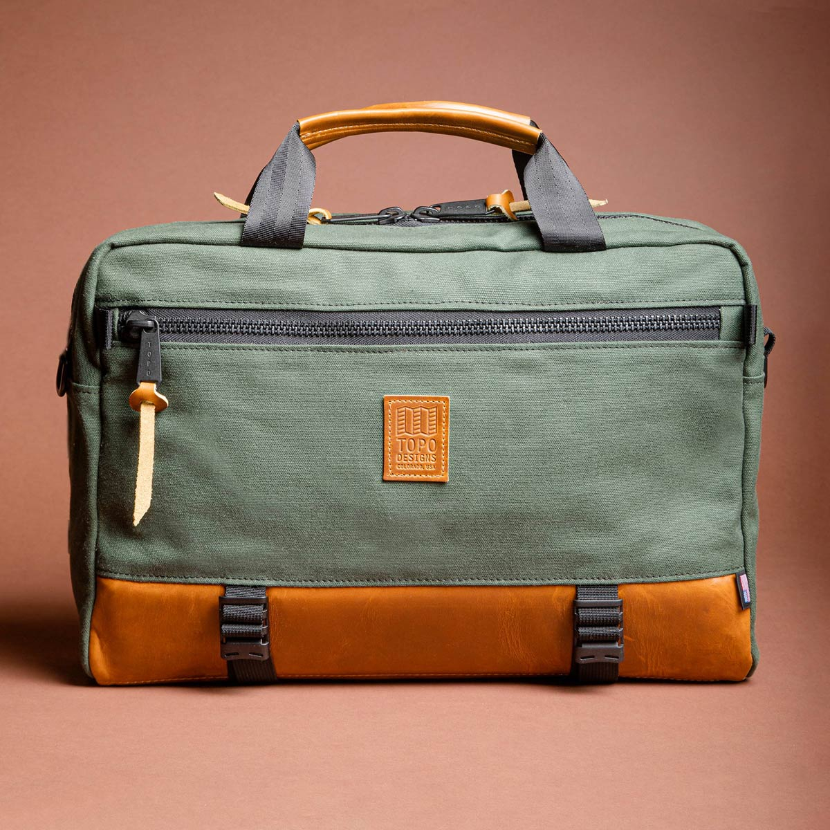 Topo Designs Commuter Briefcase Heritage Olive Canvas/Brown Leather, perfect for everyday carry