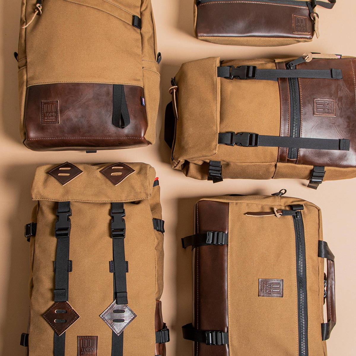 Topo Designs Klettersack Heritage Dark Khaki Canvas/Dark Brown Leather, beautiful backpack for men and women